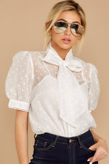 4 Timeless Ties White Polka Dot Top at reddressboutique.com