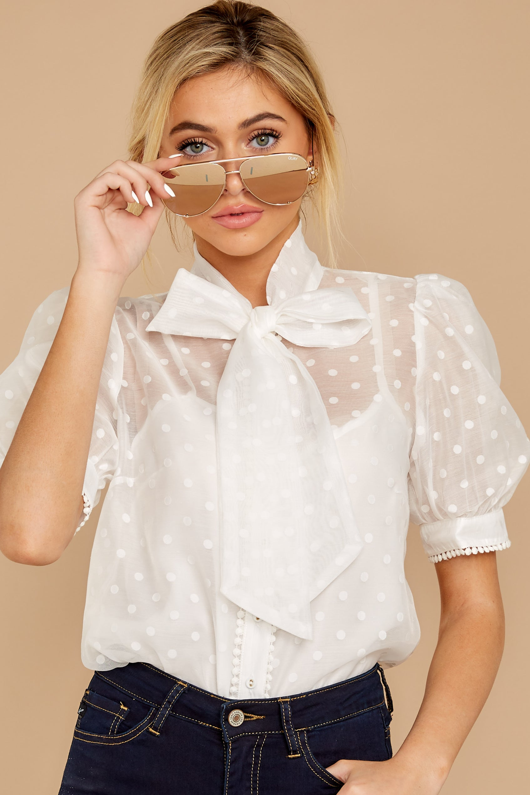 5 Timeless Ties White Polka Dot Top at reddressboutique.com