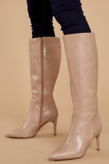 1 On Your Toes Nude Blush Crocodile Boots at reddressboutique.com