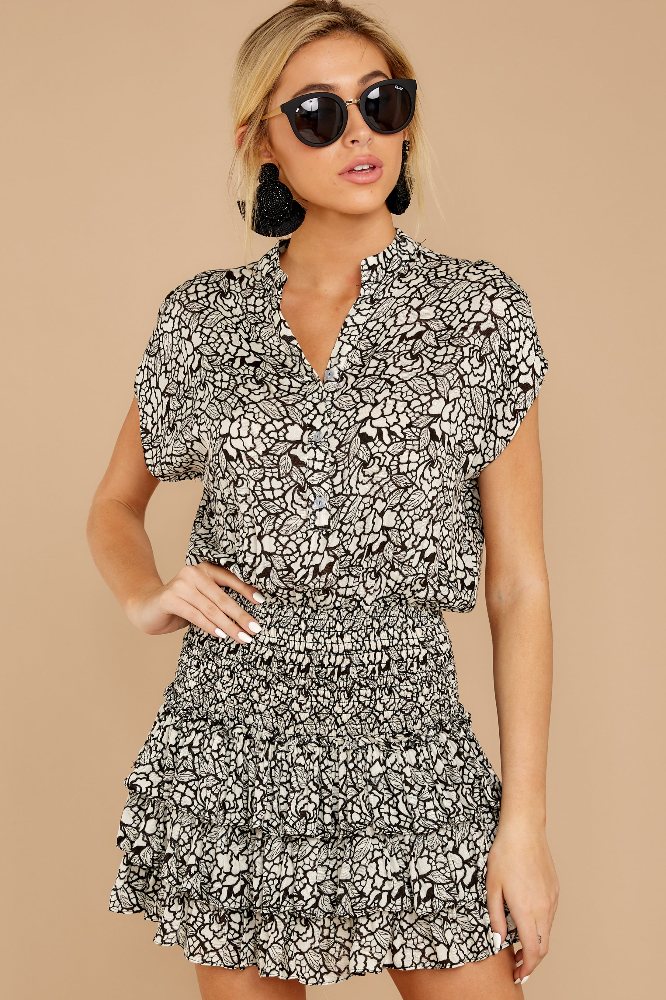 5 Tiers Of Joy Black And White Print Dress at reddressboutique.com