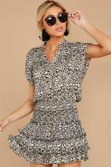 6 Tiers Of Joy Black And White Print Dress at reddressboutique.com