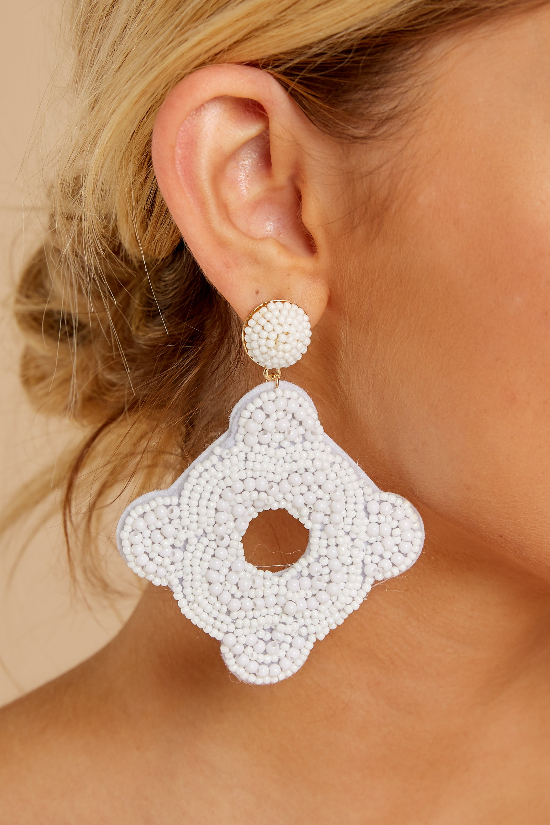 4 Having Fun Bright White Beaded Earrings at reddress.com