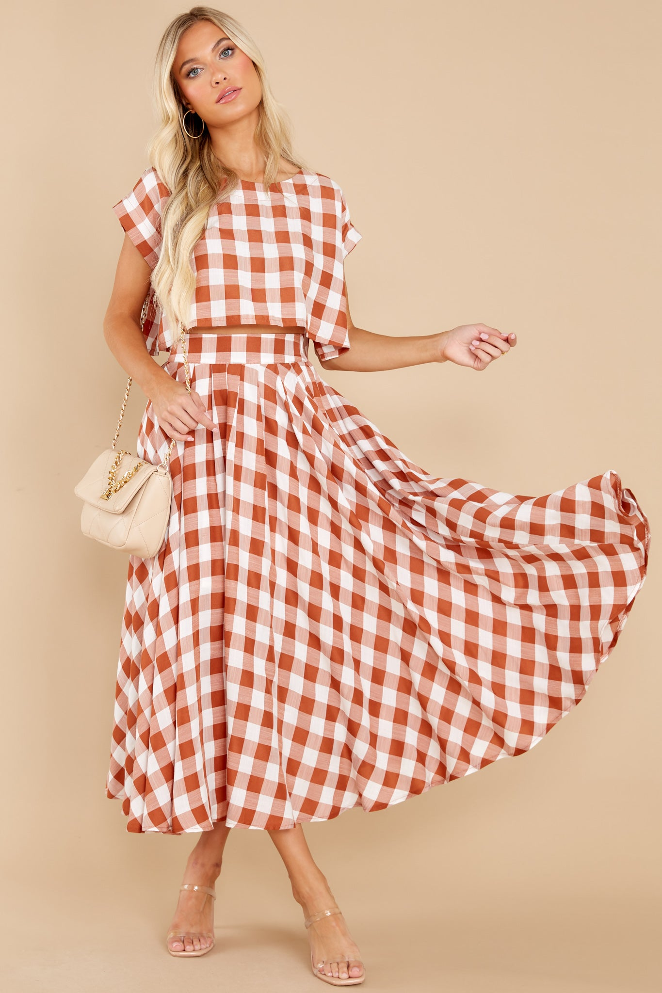 Vintage Western Wear Clothing, Outfit Ideas Leaps Of Time Rust Gingham Two Piece Set Orange $62.00 AT vintagedancer.com