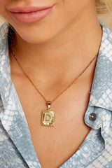 34 Initial Card Gold Necklace at reddressboutique.com