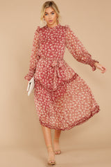 1 Whimsical West Winds Wine Red Floral Print Midi Dress at reddressboutique.com