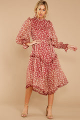 5 Whimsical West Winds Wine Red Floral Print Midi Dress at reddressboutique.com