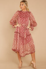 6 Whimsical West Winds Wine Red Floral Print Midi Dress at reddressboutique.com