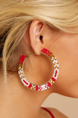 1 Intently Listening Red Multi Beaded Earrings at reddressboutique.com