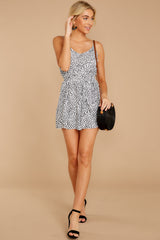 3 Pretty Polished White Cheetah Print Romper at reddressboutique.com