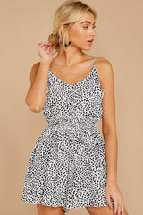 7 Pretty Polished White Cheetah Print Romper at reddressboutique.com