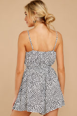 9 Pretty Polished White Cheetah Print Romper at reddressboutique.com