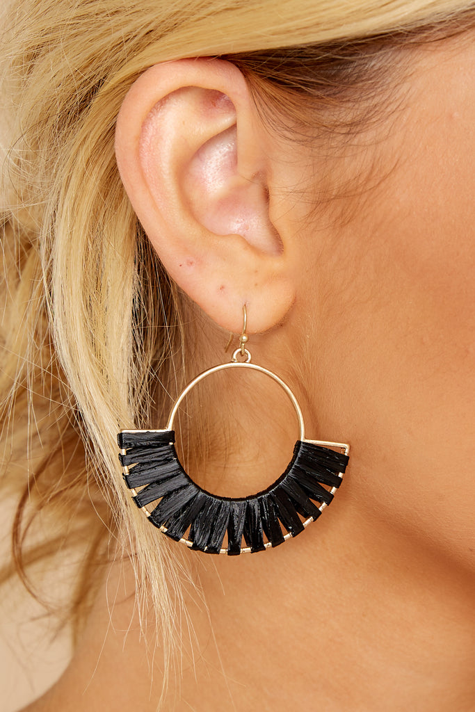1 Weaving Through Black Earrings at reddressboutique.com