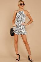 V-neck Animal Cheetah Print Sleeveless Hidden Back Zipper Darts Open-Back Polyester Halter Romper With Ruffles