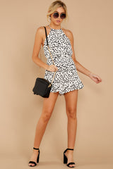 2 She Stops Traffic White Cheetah Print Romper at reddress.com