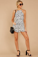 3 She Stops Traffic White Cheetah Print Romper at reddress.com
