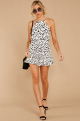 4 She Stops Traffic White Cheetah Print Romper at reddress.com