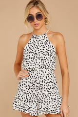 6 She Stops Traffic White Cheetah Print Romper at reddress.com