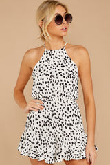 7 She Stops Traffic White Cheetah Print Romper at reddress.com