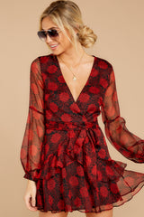 5 Sangrias At Sunset Black And Red Print Dress at reddressboutique.com