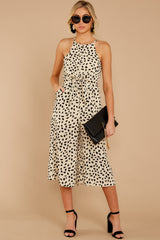 4 Shop Sassy Cream Print Midi Jumpsuit at reddressboutique.com