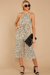 2 Shop Sassy Cream Print Midi Jumpsuit at reddressboutique.com