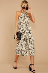 3 Shop Sassy Cream Print Midi Jumpsuit at reddressboutique.com