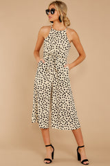5 Shop Sassy Cream Print Midi Jumpsuit at reddressboutique.com