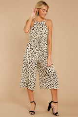 6 Shop Sassy Cream Print Midi Jumpsuit at reddress.com