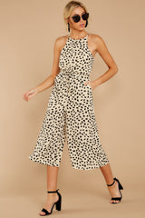 7 Shop Sassy Cream Print Midi Jumpsuit at reddressboutique.com