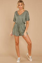 3 Find My Love Sage Green Romper at reddressboutique.com
