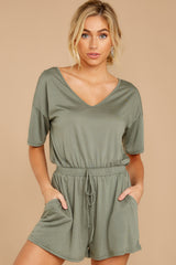 4 Find My Love Sage Green Romper at reddressboutique.com