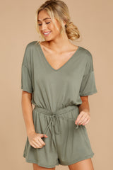 5 Find My Love Sage Green Romper at reddressboutique.com