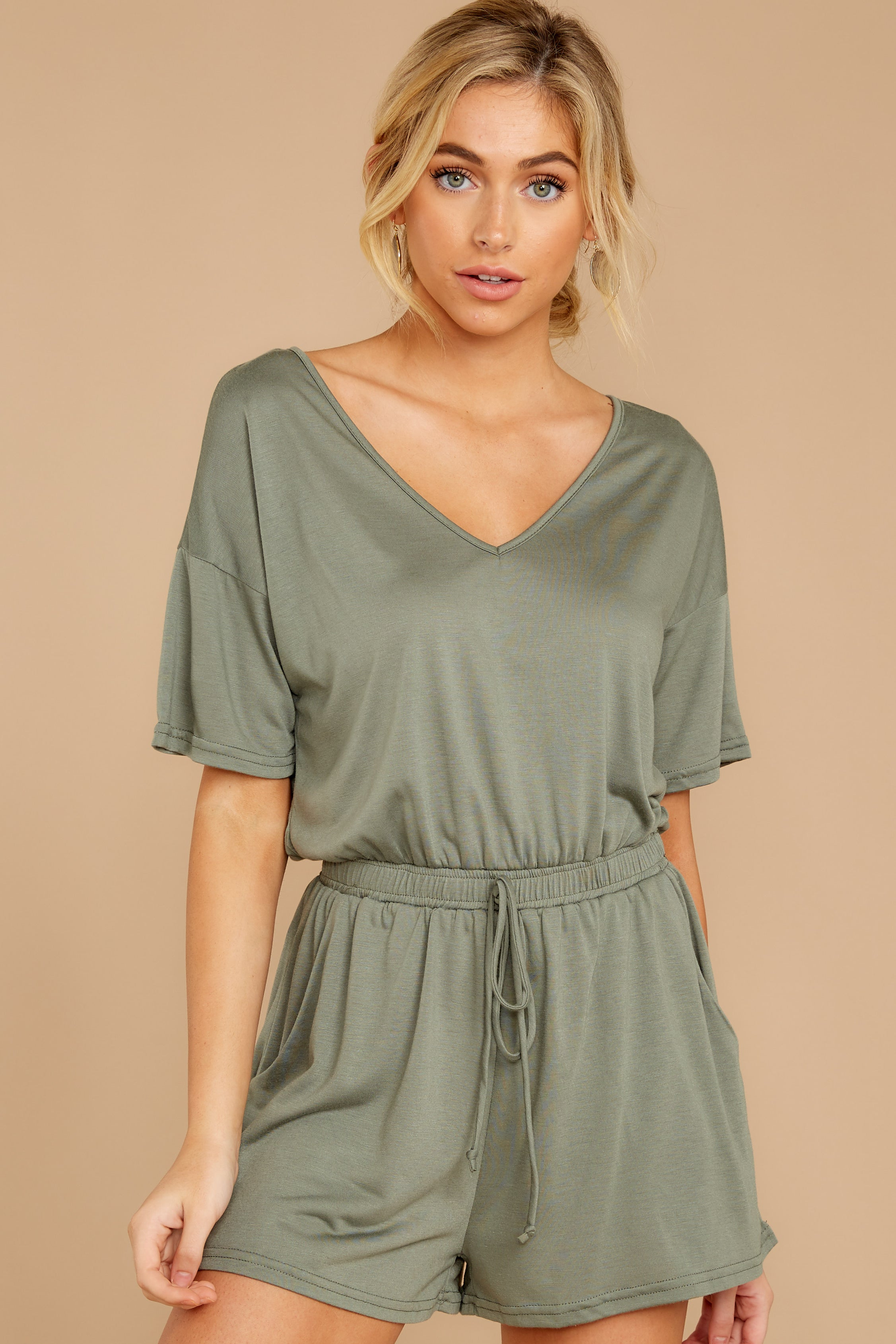6 Find My Love Sage Green Romper at reddressboutique.com