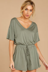 7 Find My Love Sage Green Romper at reddressboutique.com