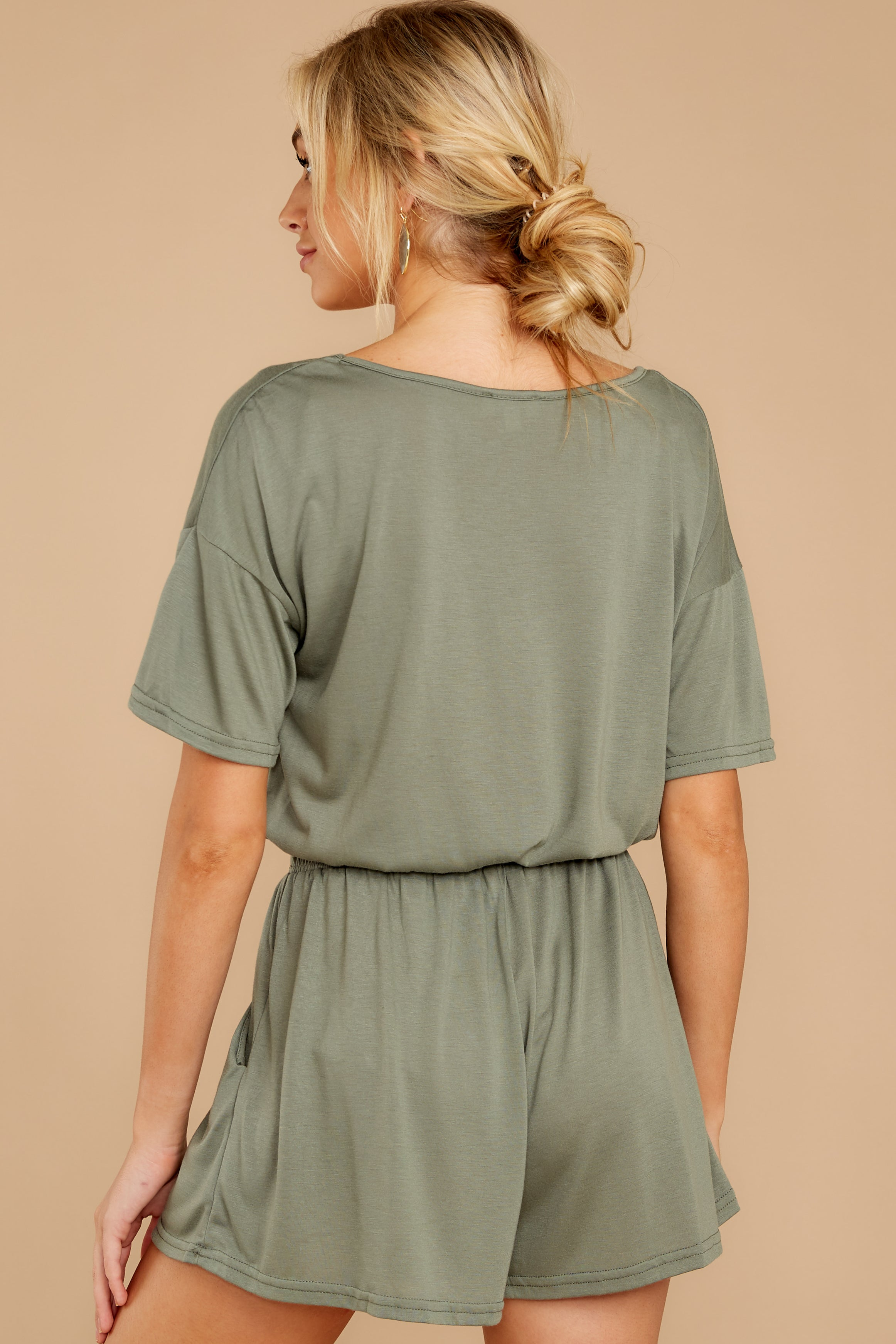 8 Find My Love Sage Green Romper at reddressboutique.com