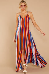 2 Waking Up There Pink Multi Stripe Maxi Dress at reddressboutique.com