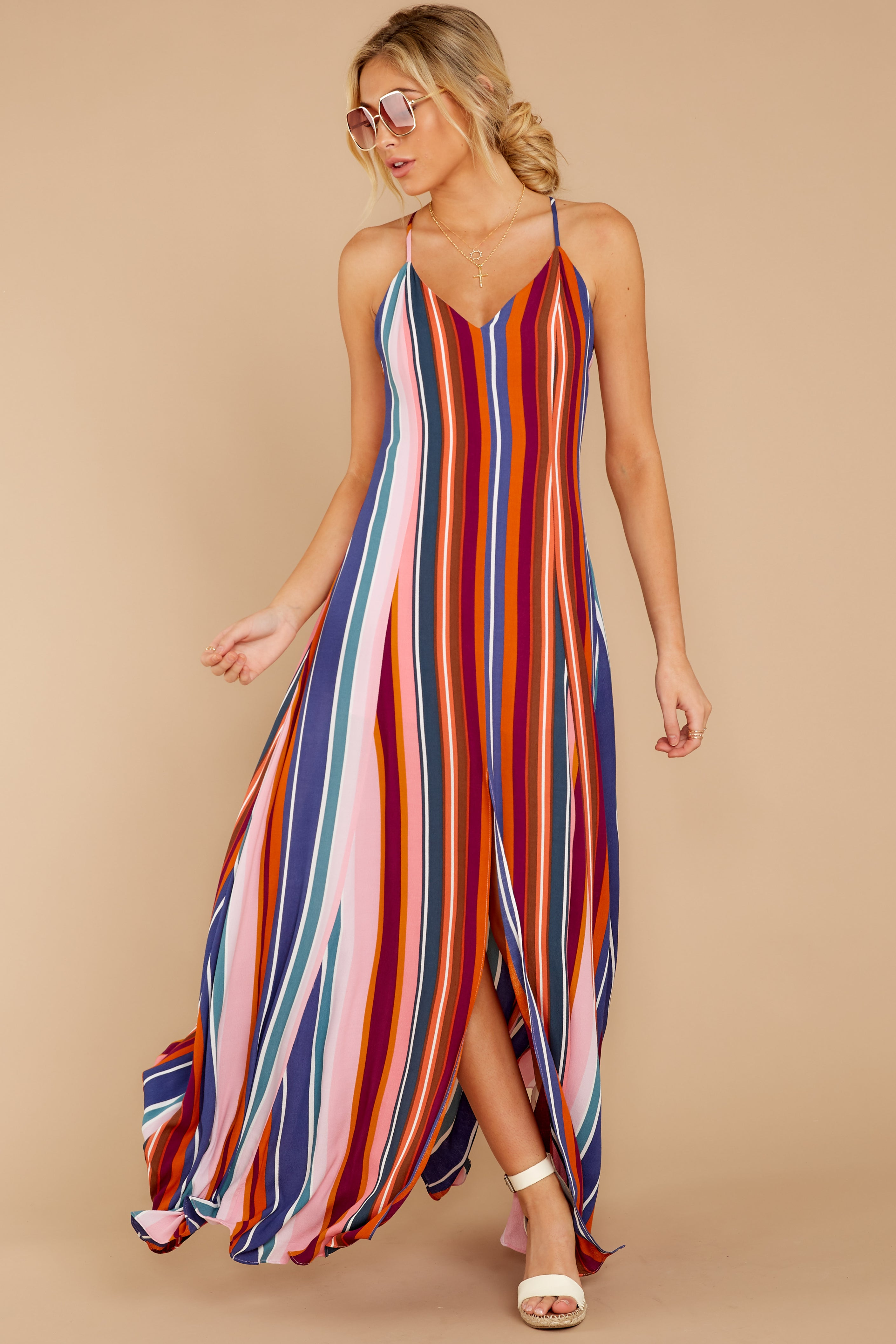 3 Waking Up There Pink Multi Stripe Maxi Dress at reddressboutique.com