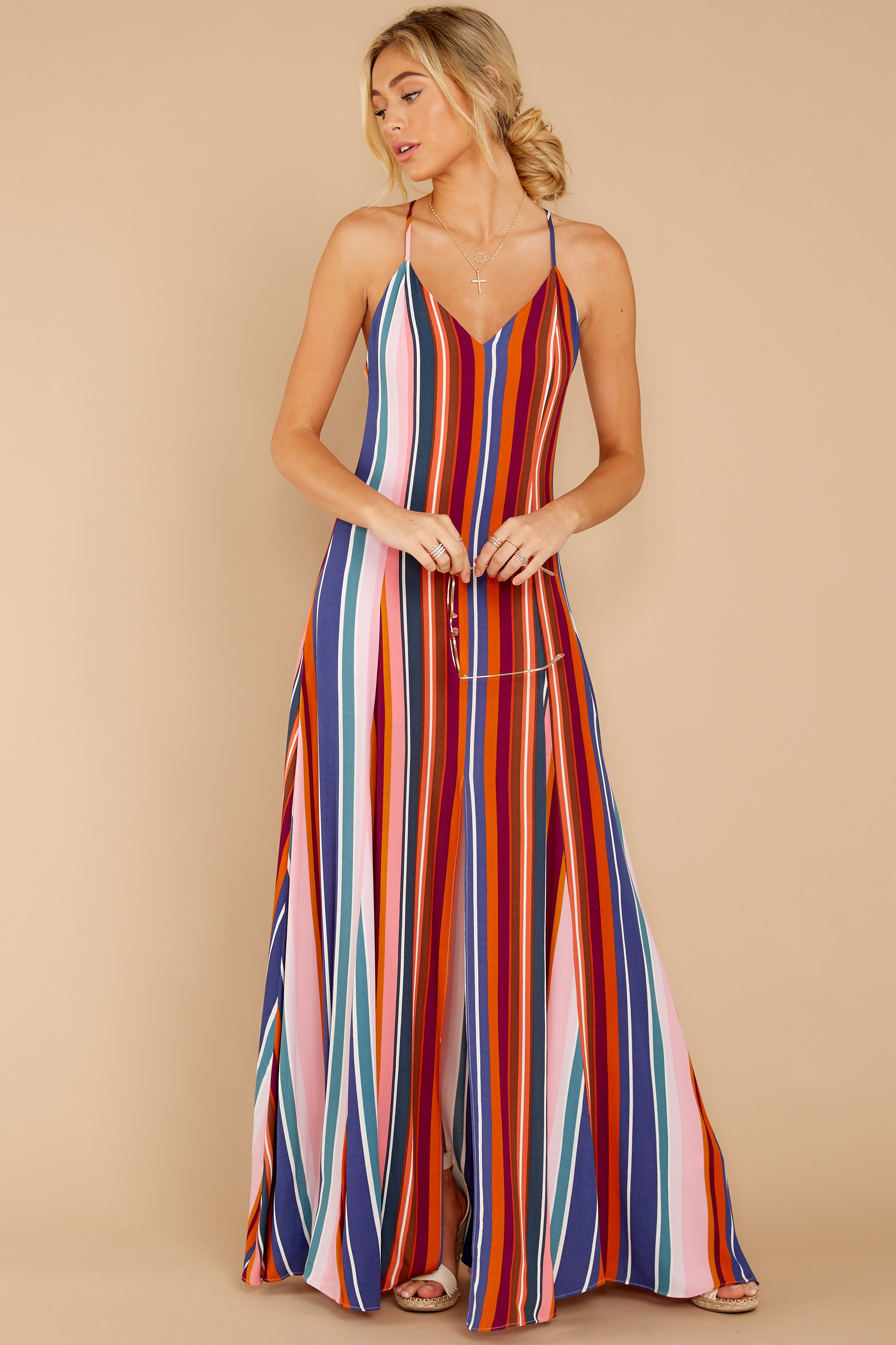 4 Waking Up There Pink Multi Stripe Maxi Dress at reddressboutique.com