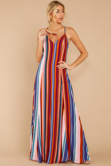 5 Waking Up There Pink Multi Stripe Maxi Dress at reddressboutique.com