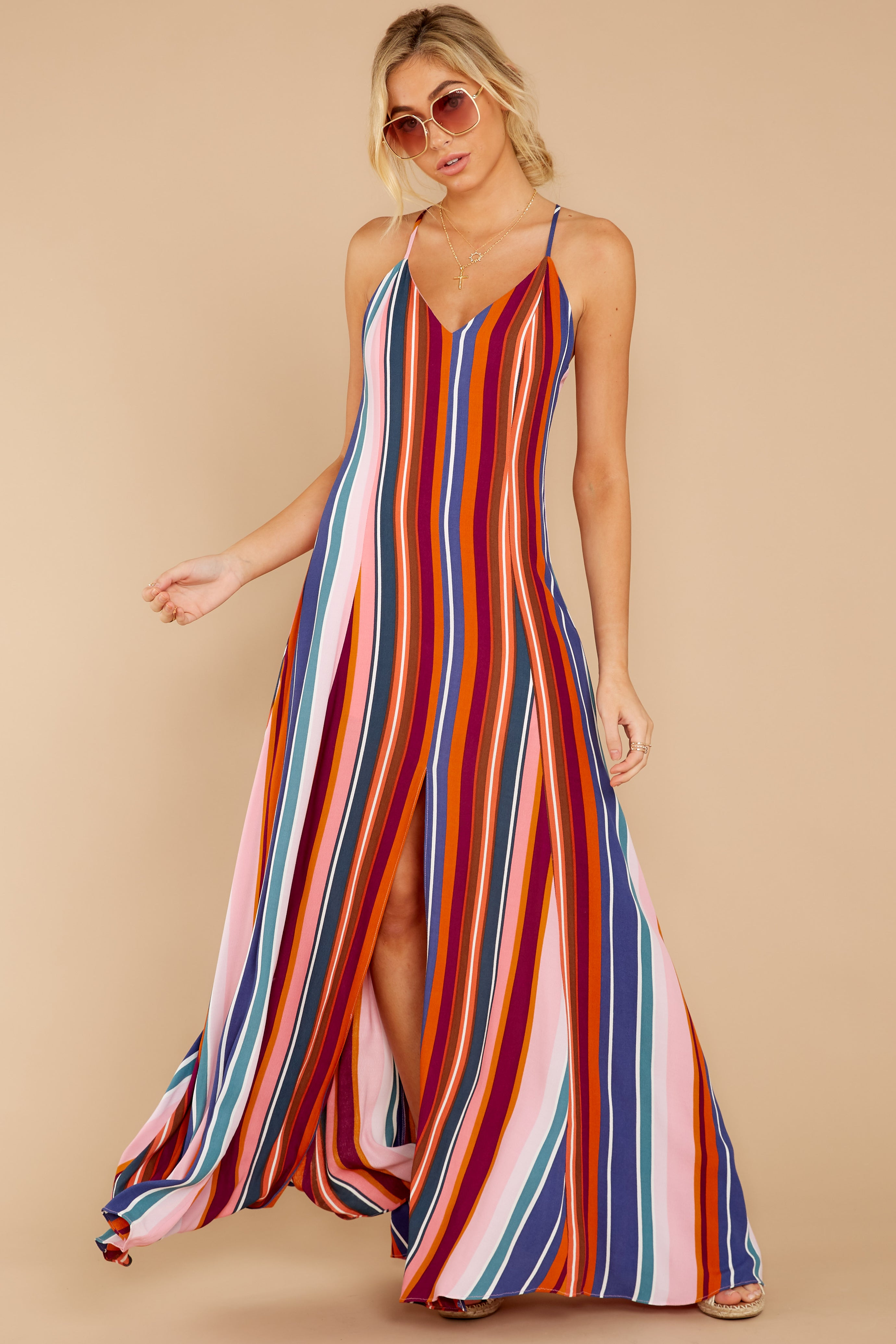 6 Waking Up There Pink Multi Stripe Maxi Dress at reddressboutique.com