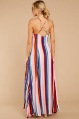 7 Waking Up There Pink Multi Stripe Maxi Dress at reddressboutique.com