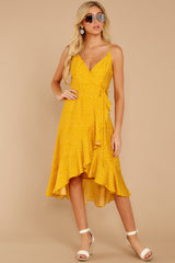 2 In The Meantime Mimosa Yellow Polka Dot Dress at reddressboutique.com