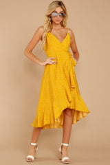 3 In The Meantime Mimosa Yellow Polka Dot Dress at reddressboutique.com