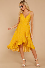 1 In The Meantime Mimosa Yellow Polka Dot Dress at reddressboutique.com