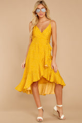 4 In The Meantime Mimosa Yellow Polka Dot Dress at reddressboutique.com
