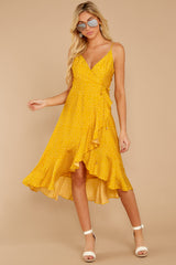 5 In The Meantime Mimosa Yellow Polka Dot Dress at reddressboutique.com