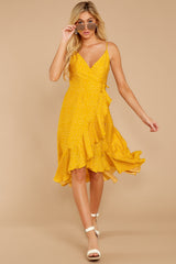 6 In The Meantime Mimosa Yellow Polka Dot Dress at reddressboutique.com