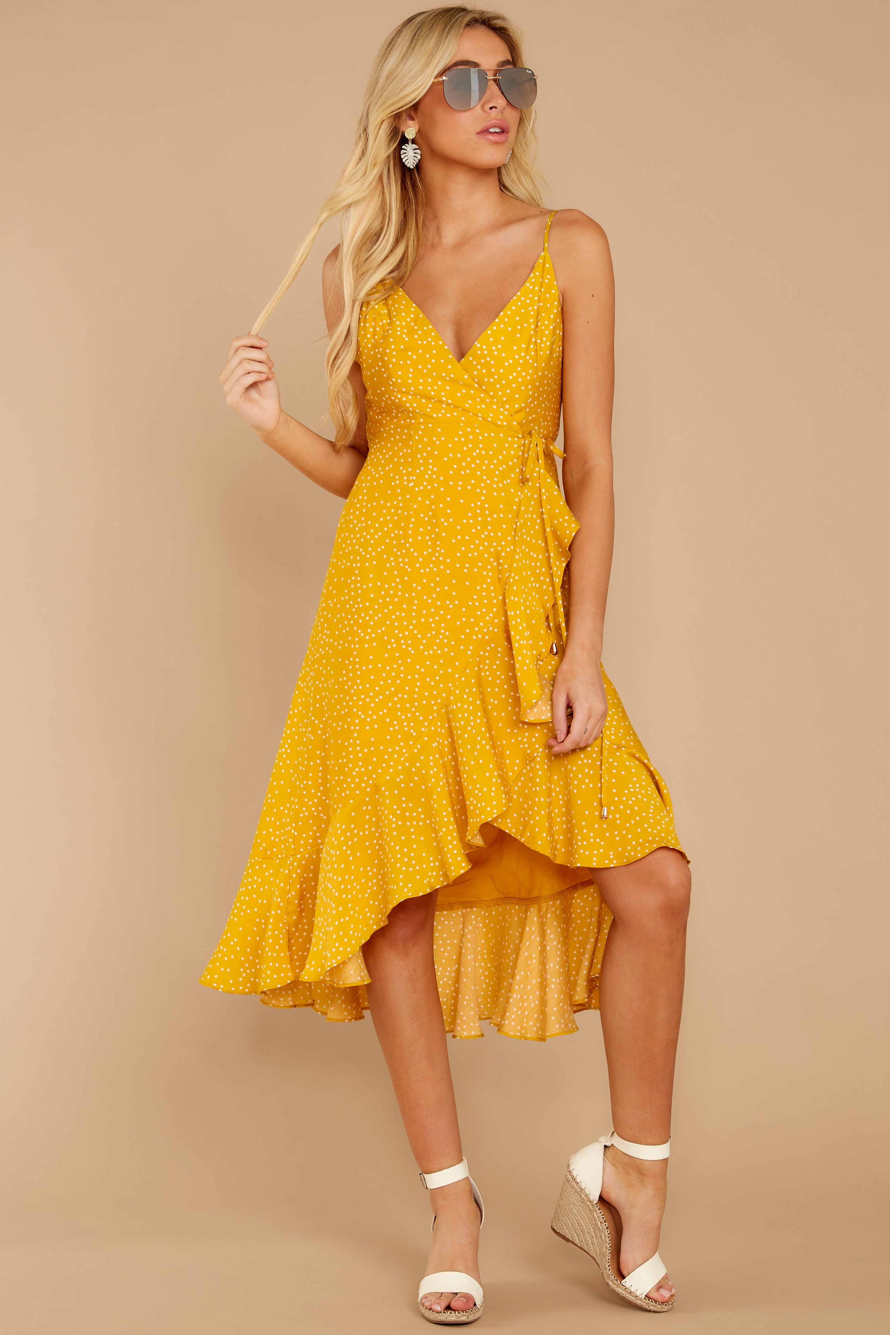 7 In The Meantime Mimosa Yellow Polka Dot Dress at reddressboutique.com