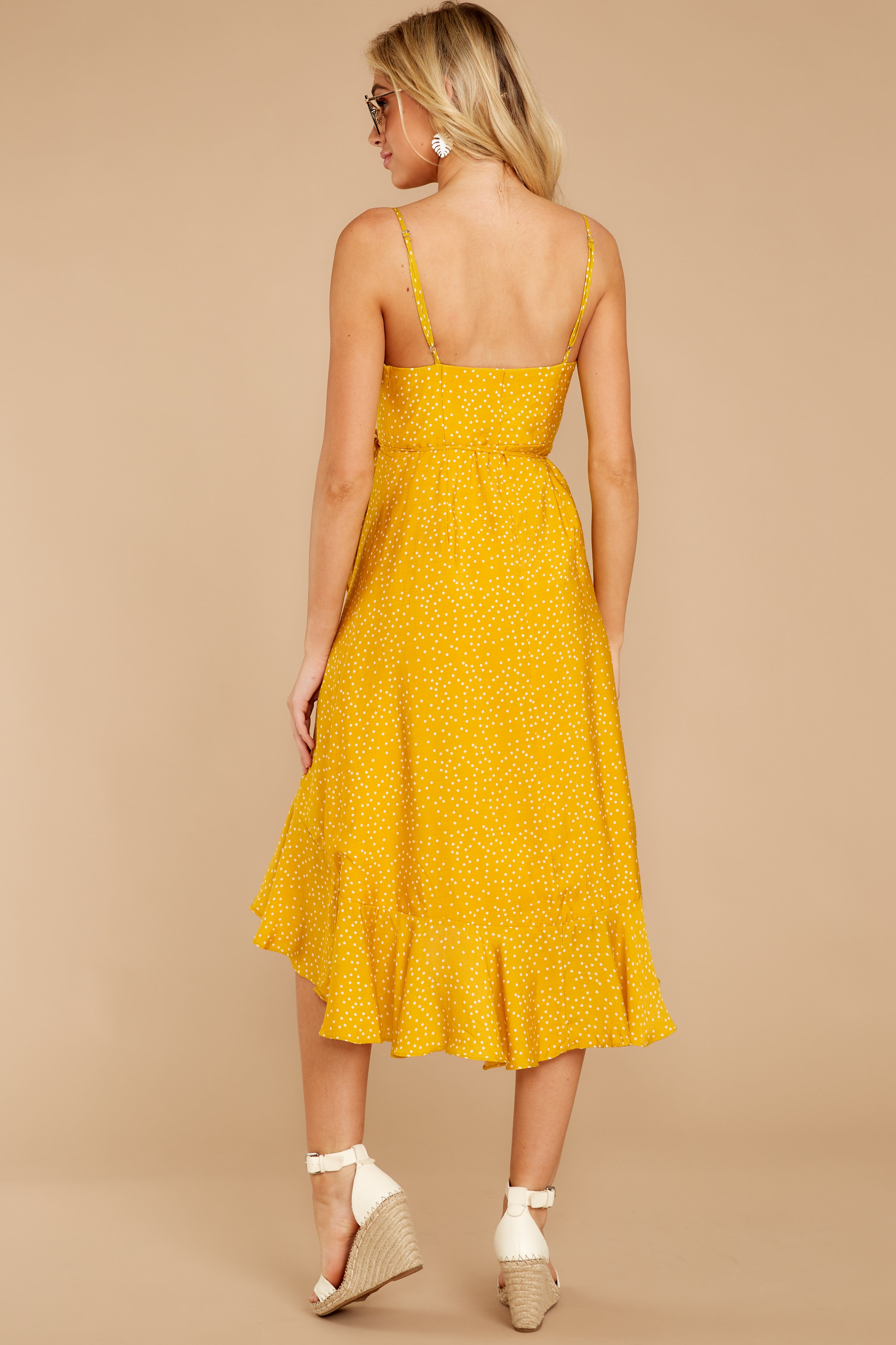 8 In The Meantime Mimosa Yellow Polka Dot Dress at reddress.com