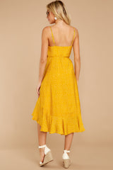 8 In The Meantime Mimosa Yellow Polka Dot Dress at reddressboutique.com